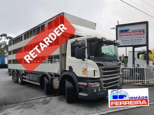 SCANIA P 420cv 8x2 trans. De gado 2012 retarder  camión para transporte de ganado